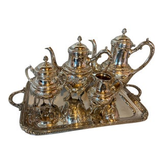 Antique 19th Century Silver Plated Tea Set - Set of 5 For Sale