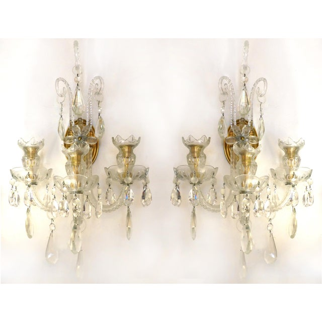 Crystal & Bronze 1940's Three Arm Wall Electrified Wall Sconces - a Pair For Sale - Image 9 of 9