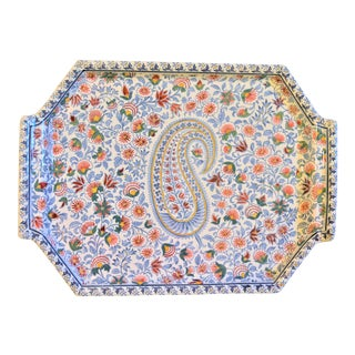 Vintage French Gien Cachemire Paisley Platter For Sale