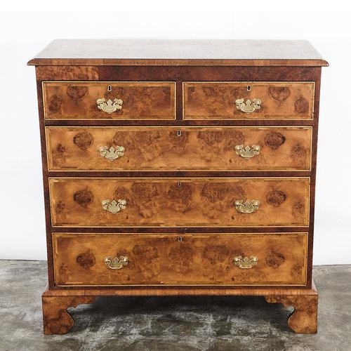 18th C. English Walnut Burl Wood Chest of Drawers - Image 2 of 4