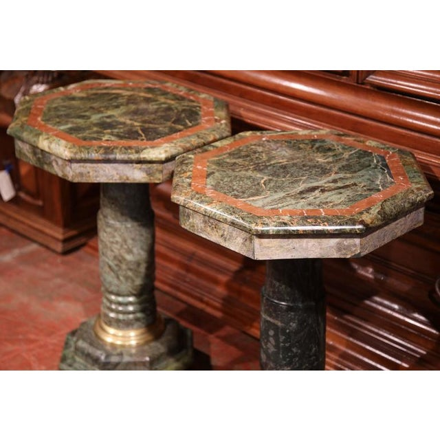 Italian 19th Century Italian Carved Octagonal Green Marble Pedestals - a Pair For Sale - Image 3 of 9