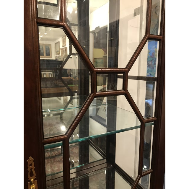 Brown Traditional Mirror Back China Cabinet For Sale - Image 8 of 9