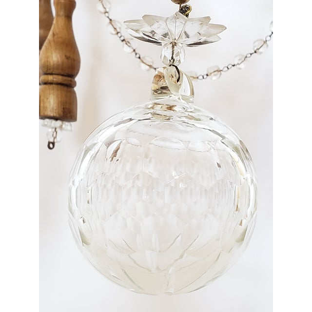 Antique French Wood & Crystal Chandelier For Sale In New York - Image 6 of 13