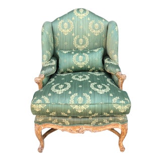 Antique Early 19c Carved Louis XV Style Wingback Arm Chair W Green & Gold Napoleonic Fabric For Sale