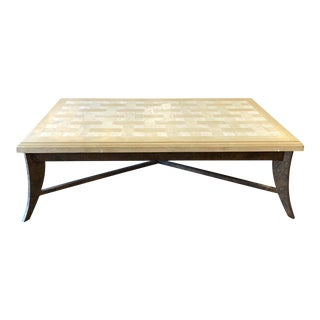 Custom Faux Stone Tile + Metal Coffee Table For Sale