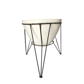 Mid Century Fiberglass Planter on Iron Wire Tripod Base For Sale