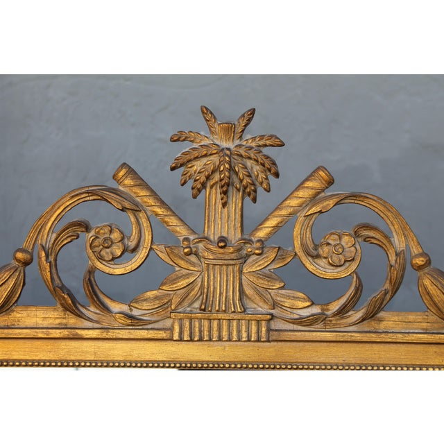 Neoclassical 1940's Neoclassical Style Carved Walnut Wall Mirror For Sale - Image 3 of 13