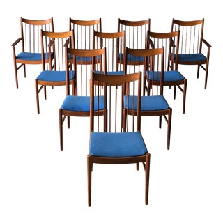 Danish Spindle Back Dining Chairs - Set of 10 For Sale