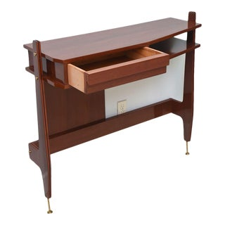 Pair of Italian Modern Mahogany and Brass Console, Attributed to Ico Parisi For Sale