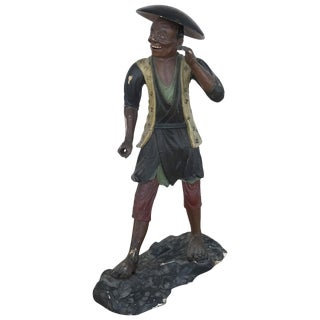 19th Century French Carved Statue of Fisherman For Sale