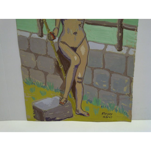 """Original Painting on Paper """"Nude by the Wall"""" by Tom Sturges Jr., 1947 For Sale - Image 4 of 6"""