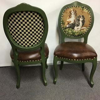 Vintage Framed Side Chairs With Dog Tapestry- a Pair Preview