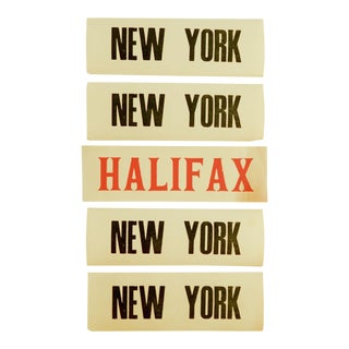 New York & Halifax Vintage Luggage Labels - Set of 5