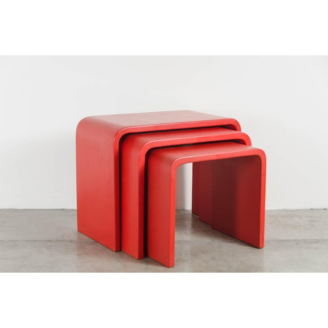 Waterfall Nesting Tables - Red Lacquer by Robert Kuo, Hand Made, Limited Edition For Sale In Los Angeles - Image 6 of 6