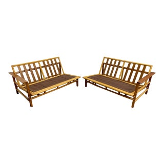 Vintage Ficks Reed Walnut With Rattan Sectional Sofas - A Pair For Sale