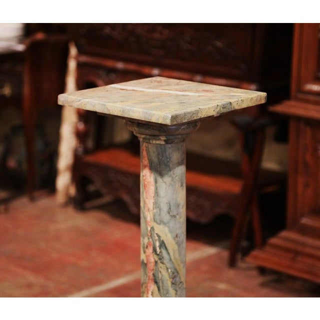 19th Century French Carved Variegated Marble Pedestal Table With Swivel Top For Sale - Image 4 of 5