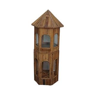 Vintage Rattan Bamboo Terrarium Display Cabinet For Sale