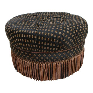 Vintage Lambert Tufted Round Fringe Ottoman For Sale