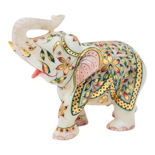 Vintage White Marble Jeweled Elephant Sculpture Paper Weight For Sale