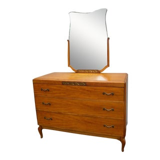 French 1930s Deco Mahogany Dresser With Mirror by Northern Furniture For Sale