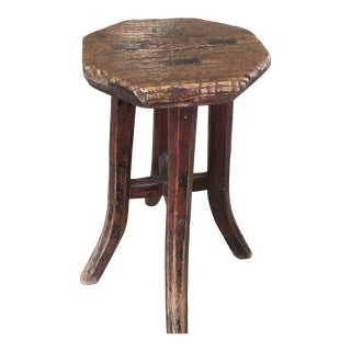 Late 19th Century Distressed Chinese Stool For Sale