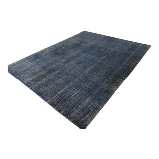 Navy Distressed Wool Rug - 9′ × 12′ For Sale
