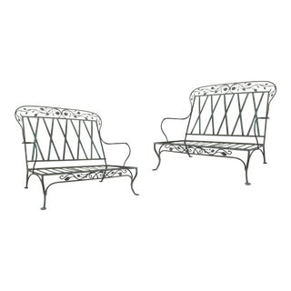 Wrought Iron Settees by Salterini, Circa 1950 - a Pair For Sale