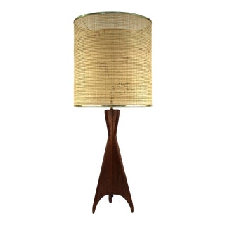 Mid-Century Modern Teak Table Lamp with Sculptural Tripod Base For Sale