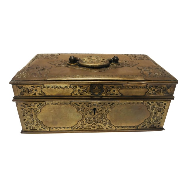 Antique Anglo Indian Georgian Brass Desk Box For Sale