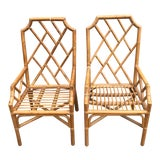 Image of Vintage Rattan Chippendale Arm Chairs a Pair For Sale