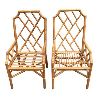 Vintage Rattan Chippendale Arm Chairs a Pair For Sale
