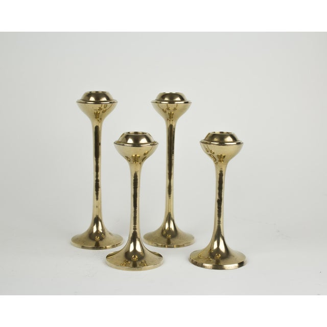 Metal Mid-Century Modern Globe Candlestick Holders - Set of 4 For Sale - Image 7 of 9