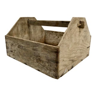 Vintage Early 1900s Handcrafted Wood Toolbox/Carrier For Sale