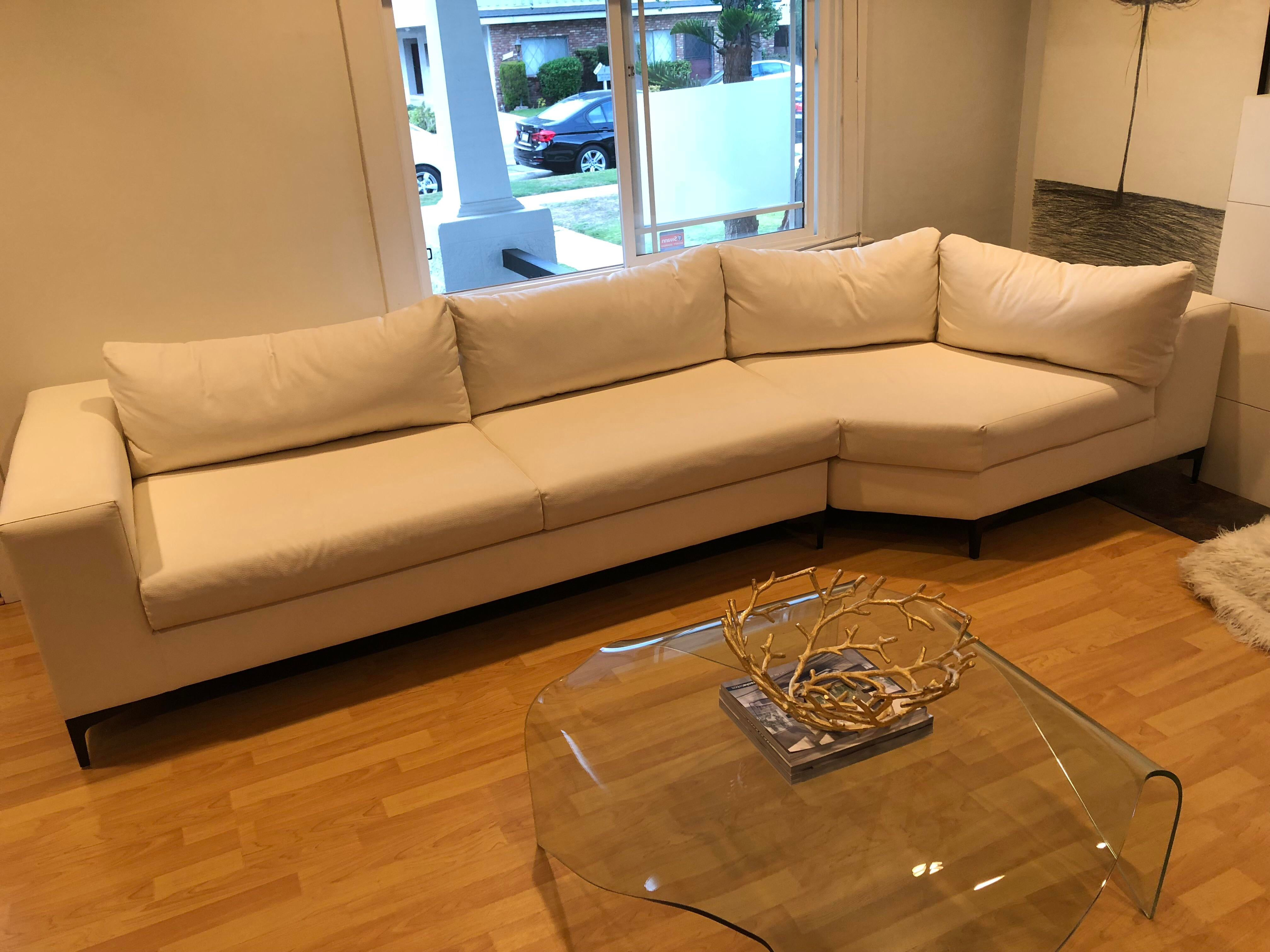 Ordinaire Animal Skin Extra Long White Leather Sofa For Sale   Image 7 Of 8
