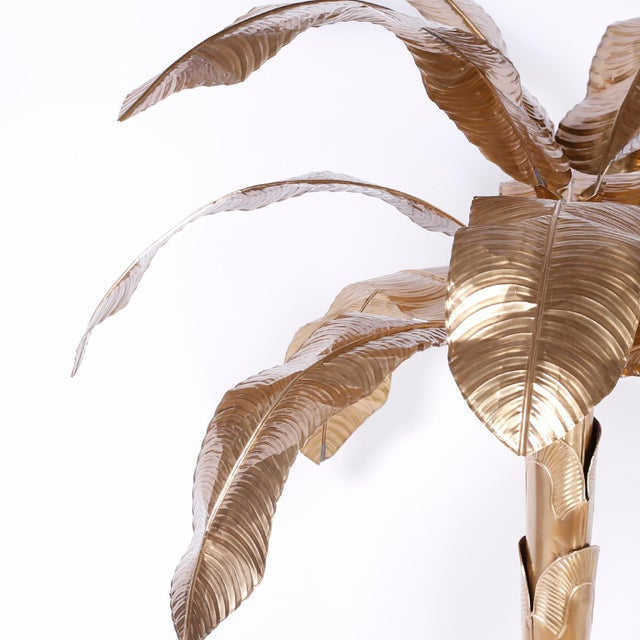 Mid 20th Century Midcentury Brass Palm or Banana Tree For Sale - Image 5 of 9