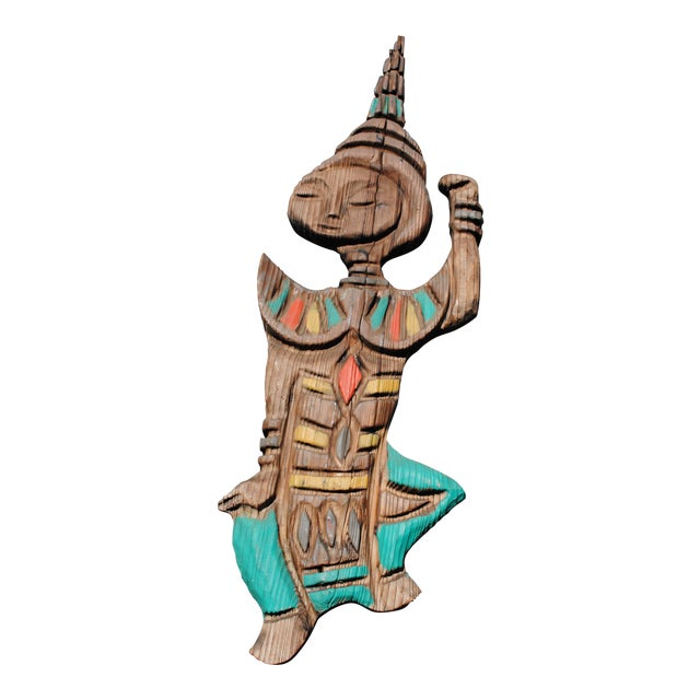 Thai Siam Mid Century Hand Carved Spruce Dancer Wall Sculpture For Sale