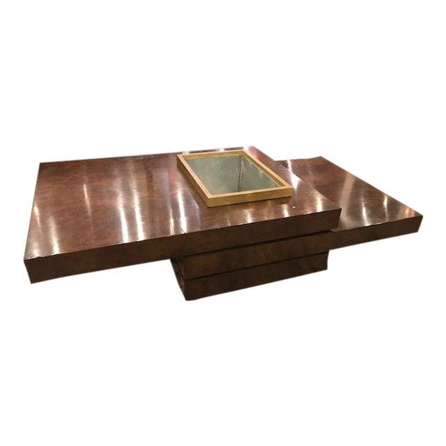 Three Tiered Burlwood Coffee Table For Sale
