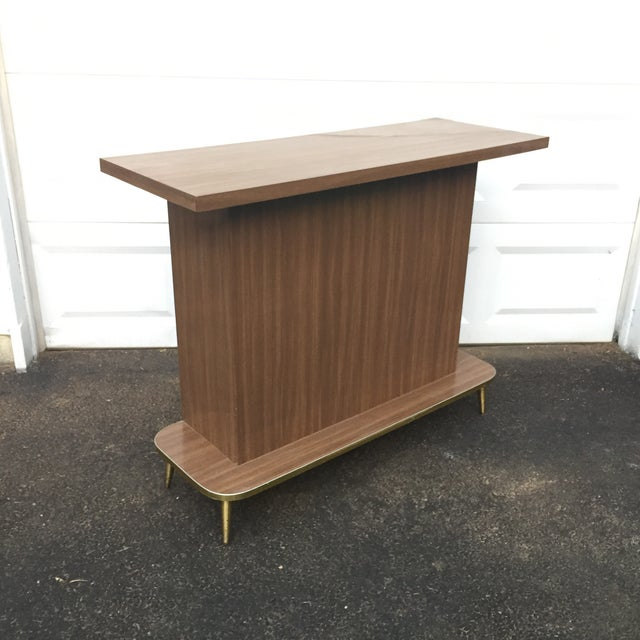 Mid-Century Modern Faux Wood Dry Bar For Sale - Image 4 of 11