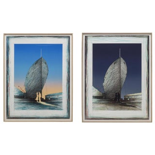 Susan Hall 'Landfall State I and II' Diptych Lithographs - A Pair