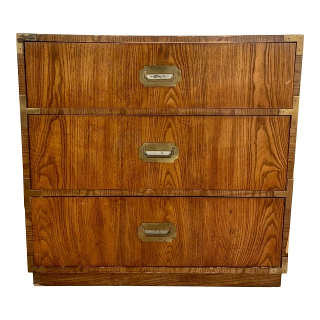 Late 20th Century Dixie Campaign 3 Drawer Dresser For Sale
