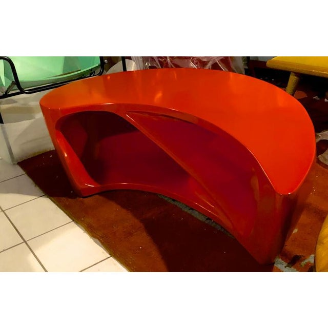 Abstract Boomerang Shaped Red Abstract Coffee Table For Sale - Image 3 of 7