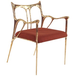 Brass Sculpted Brass Chair, Misaya For Sale