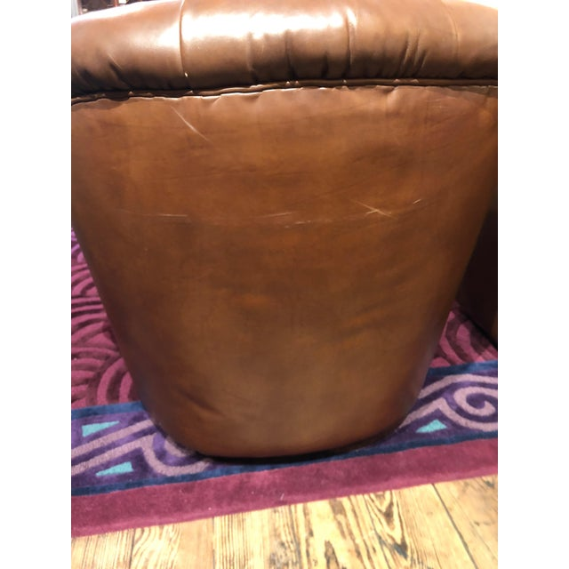 Brown 1970s Mid-Century Modern Tufted Leather Swivel Club Chairs - a Pair For Sale - Image 8 of 11