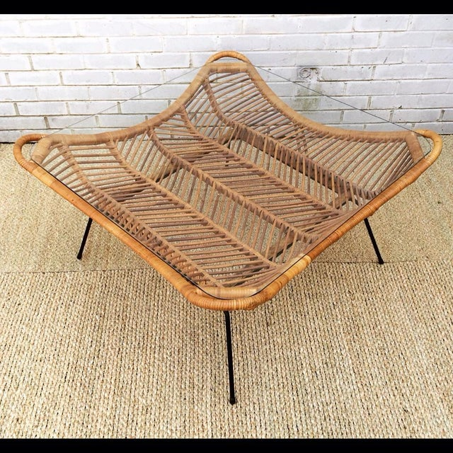 1960s Rattan, Iron & Glass Coffee Table - Image 2 of 10