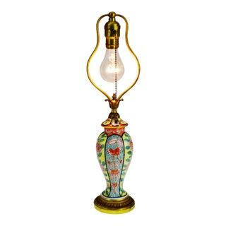 Antique French Art Nouveau Belle Epoque Hand Painted Porcelain Table Lamp For Sale