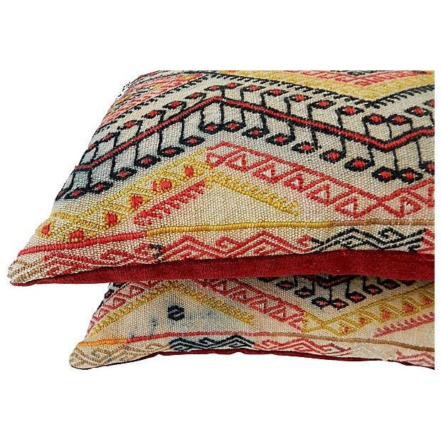 Antique Caucasian Soumak Pillows, Pair - Image 6 of 8