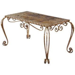 1940s French Louis XV Style Mirrored Top Coffee Table For Sale