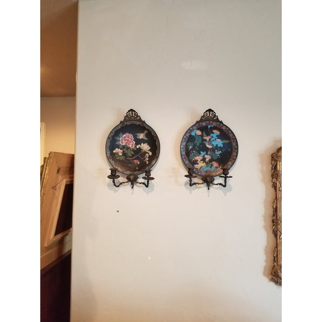 Black Pair of Cloisene Wall Sconces For Sale - Image 8 of 9