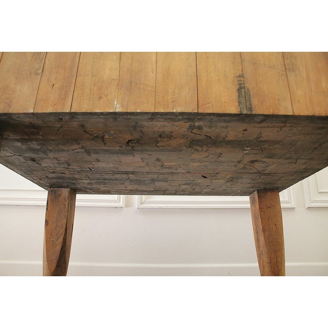 Brown 20th Century French European Butcher Block Table For Sale - Image 8 of 10
