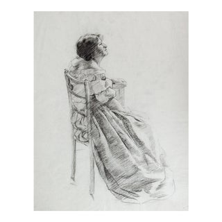 19th Century Seated Woman Drawing For Sale